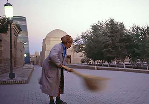 Woman Sweeping in Khiva, Uzbekistan